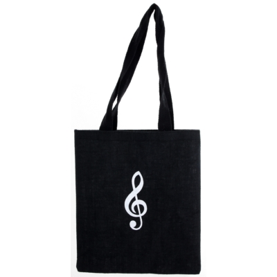 Fekete Juta táska-szatyor, Violin kulcsos, 43x37cm
