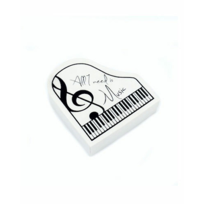 Zongora alakú radír, fehér 4 cm